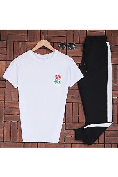 Rose Beyaz T-shirt Eş Beyaz Eşofman Takımı