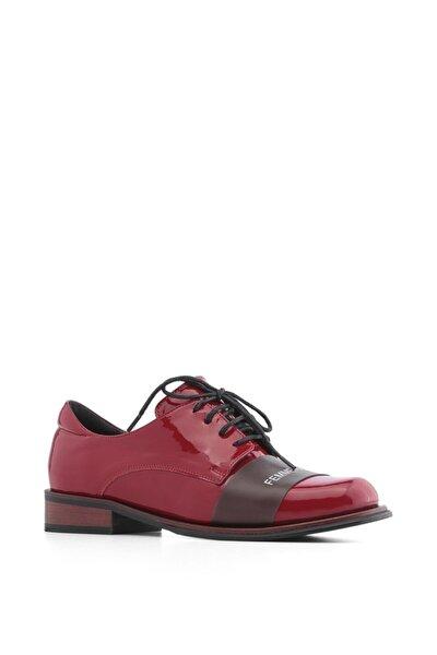 File Bayan Oxford Ayakkabı Kırmızı