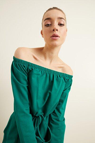 Kadın Yeşil Bağcıklı Crop Sweatshirt
