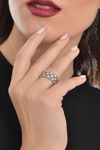 Kadın Antik Gümüş Kaplama Kabartma Dokulu Yüzük