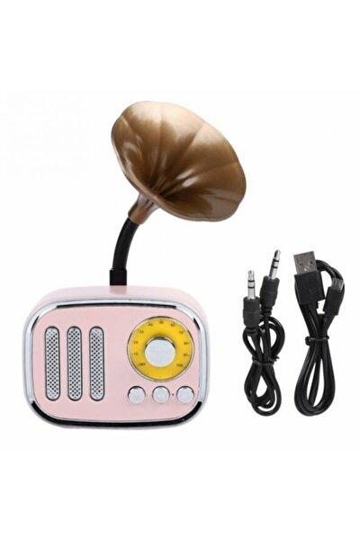 Hs67 Nostaljik Mini Dekor Retro Gramofon Bluetooth/fm Radyo Pembe