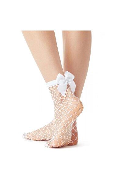 Kadın Beyaz Kurdelalı File Soket Çorap