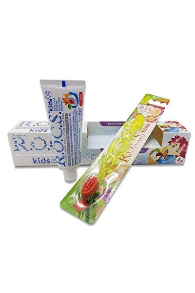Kids 3-7 Florürsüz Diş Macunu Ve Diş Fırçası Seti - Sarı Fırçalı