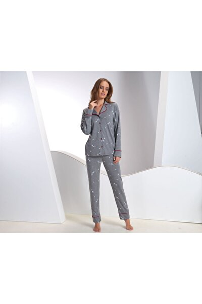 Kadın Gri Düğmeli Pijama Takımı