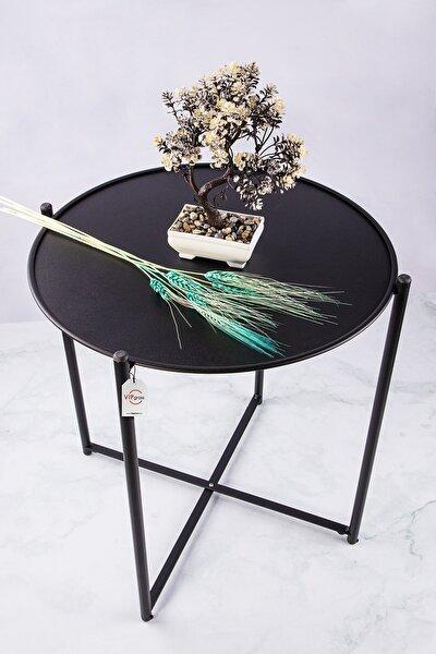 Siyah Iskandinav Katlanır Metal Sehpa