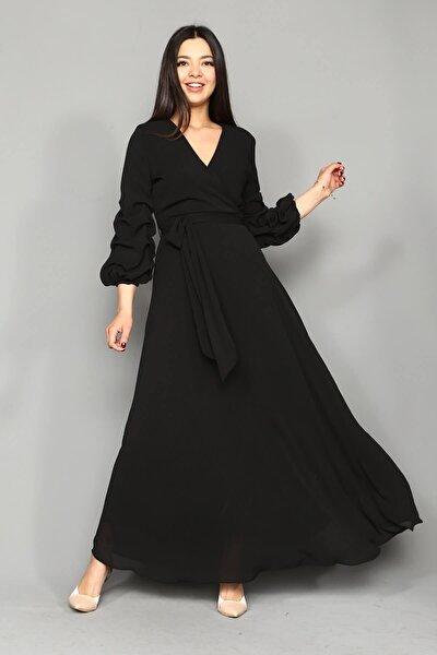 Siyah Kolları Büzgülü Uzun Şifon Elbise