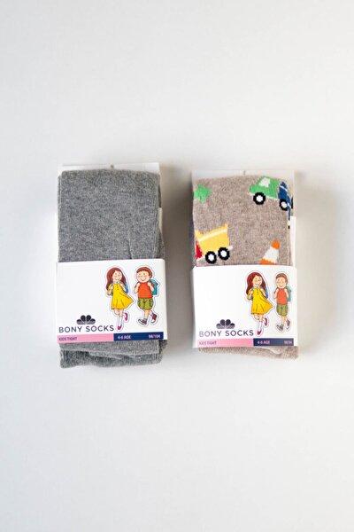 Kadın Kahverengi Gri 2'li Paket Çocuk Külotlu Çorap