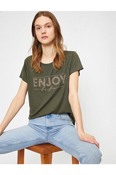 Kadın Yeşil Tas Detayli T-shirt
