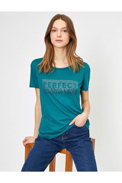 Kadın Yeşil Yazili Baskili T-shirt