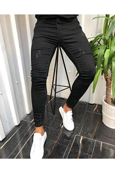 Erkek Siyah Jean Italyan Kesim Denım Kot Pantolon