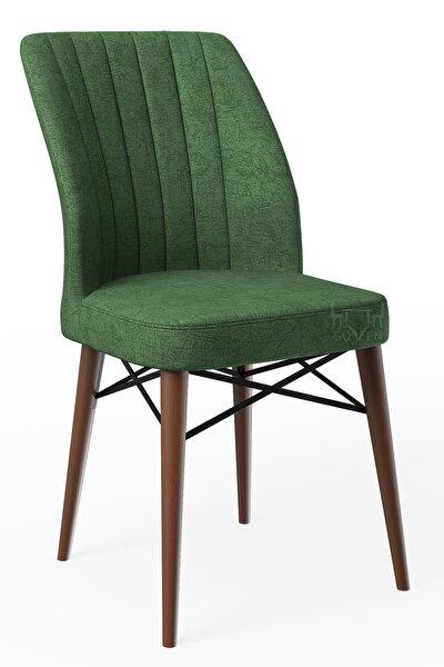 Ahenk Yeşil Ahşap Ayaklı Mutfak Cafe Sandalyesi