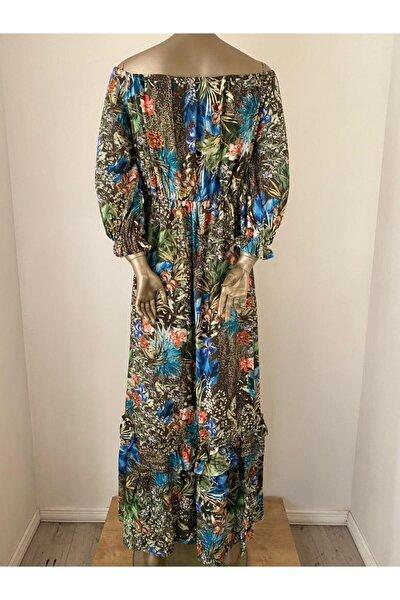 Kadın Gri Omuzdan Bağlamalı Tropikal Elbise