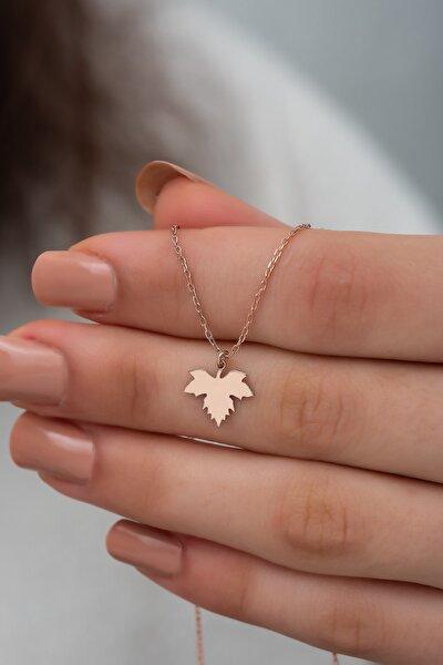 Gümüş Çınar Yaprağı Kolye Yaprak Kolyesi Gümüş Kolye Dn437