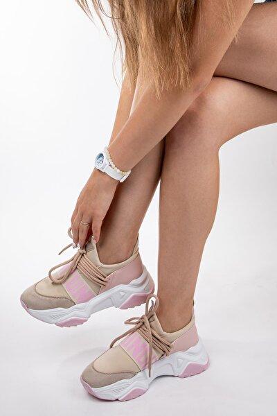 Kadın Yüksek Tabanlı Spor Ayakkabı Sneaker Yürüyüş Ayakkabısı
