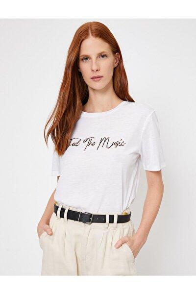 Kadın Beyaz Yazili Baskili T-Shirt 0YAK13133OK