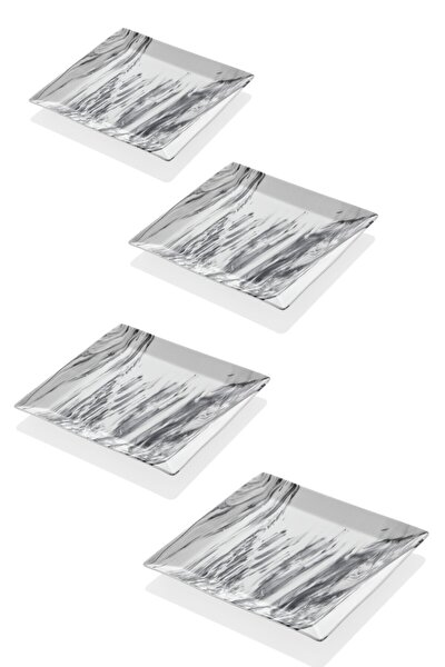 Mermer Görünümlü 4lü Servis Tabağı 24 Cm
