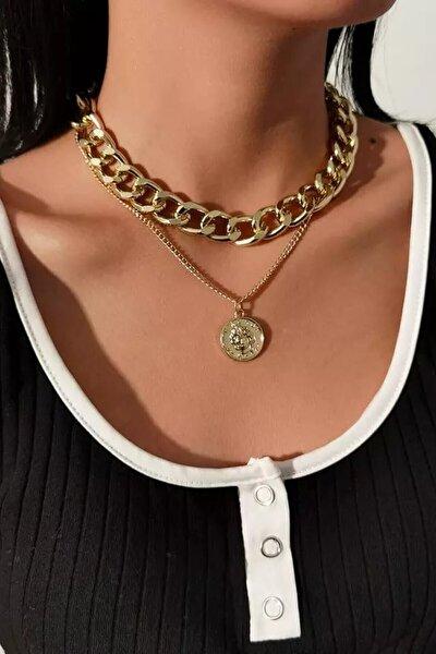 Gold Kaplama 2li Sıralı Madalyon Zincir Bayan Altın Kolye