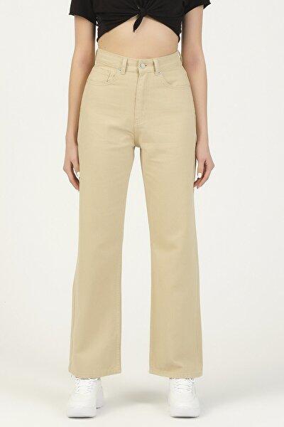 Kadın Taş Bej Renk Yüksek Bel Bol Paça Jean