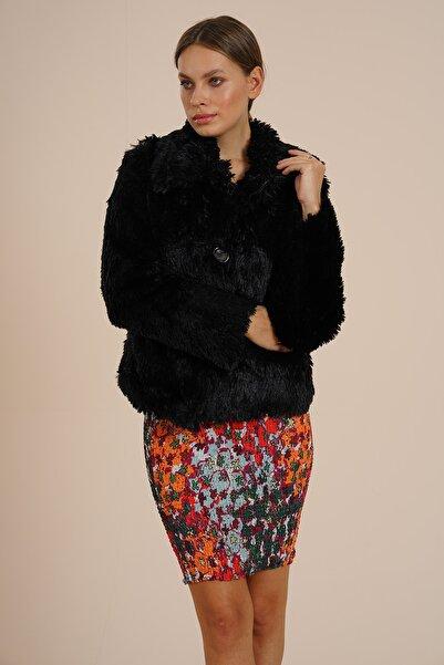 Kadın Siyah Suni Kürk Peluş Ceket