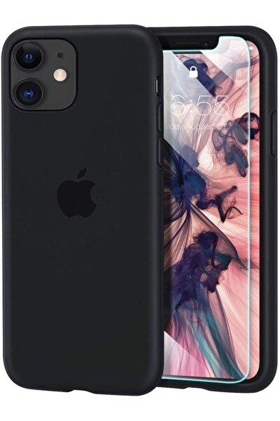 Apple Iphone 11 Kılıf Velvet Içi Kadife Lansman Silikon Logolu