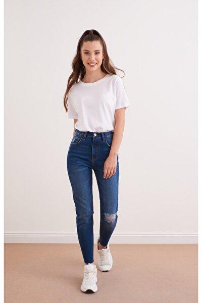 Melında Yırtıklı Dark Blue Denım Pantolon