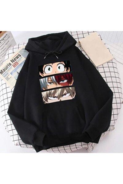 Unisex Siyah Anime Naruto My Hero Academia Kapüşonlu Hoodie Oversize Sweatshirt