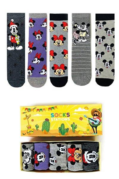 Mouse Renkli Desenli Çorap Kutusu 5'li