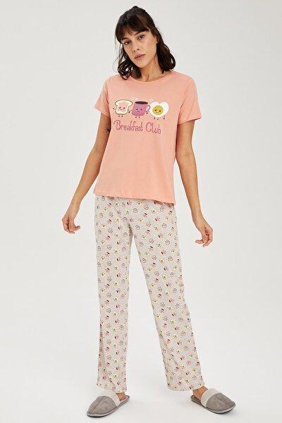Kadın Bej Slogan Baskılı Kısa Kollu Pijama Takımı