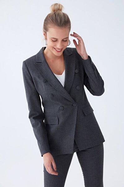 Kadın Antrasit Çizgili Ceket