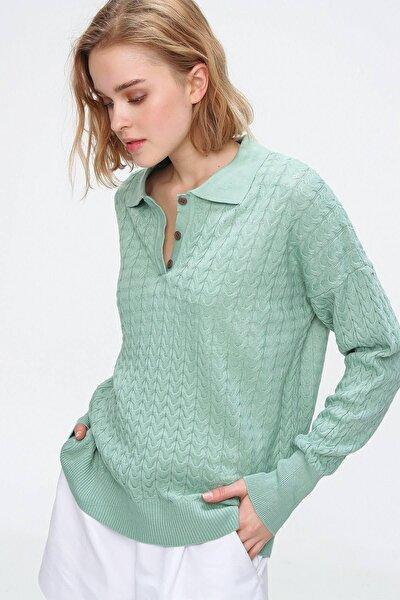 Kadın Yeşil Polo Yaka Örme Merserıze Bluz