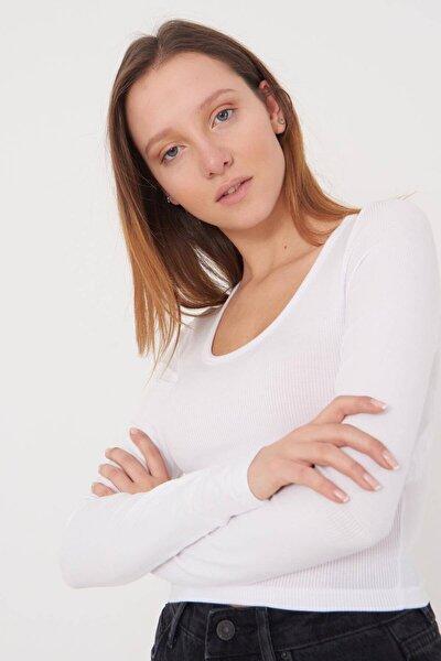 Kadın Beyaz Basic Bluz B1090 - T13 Adx-0000023405