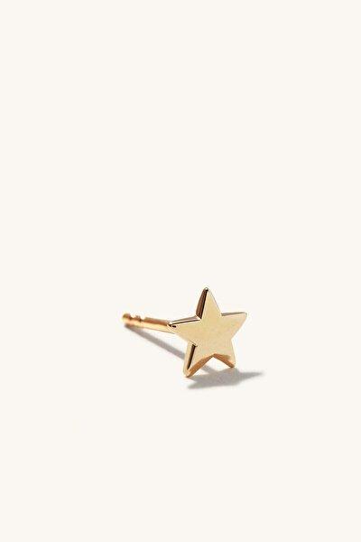 14 Ayar Altın Minimalist Yıldız Kadın Küpe