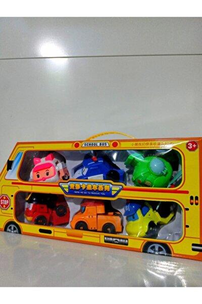 Oyuncak Çantalı Araba Model Poli Car 6'lı Orta Boy Canlı Renkli Figür Karakter Oyuncaklar