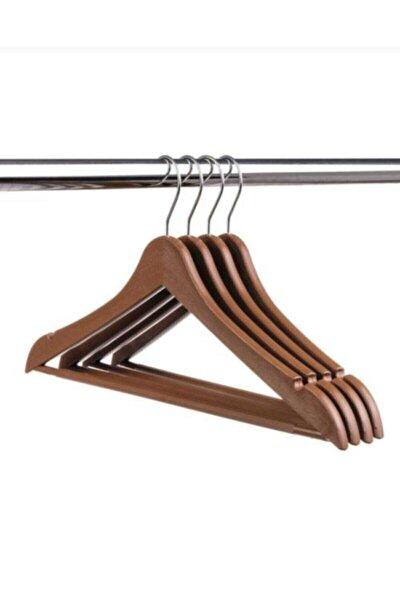 12 Adet Ahşap Görünümlü Plastik A Kalite Askı, Kıyafet Ve Elbise Askısı Kahverengi