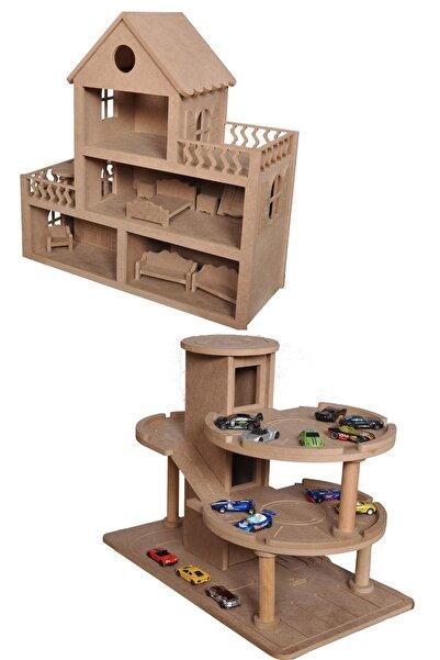 Ahşap Katlı Otopark(araba Hediyeli) Ve Ahşap Oyuncak Bebek Evi(15 Adet Mobilyalı)