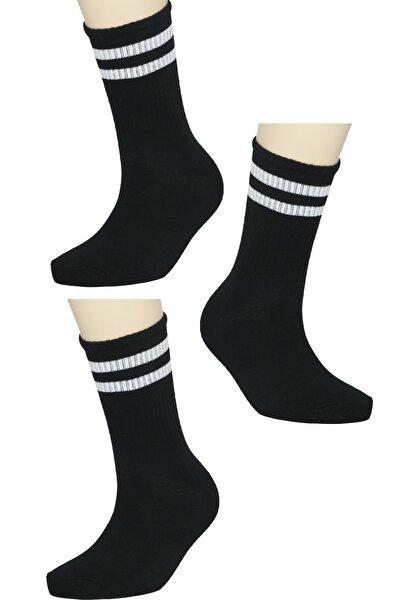 3'lü Siyah Şeritli Kolej Tenis Çorap