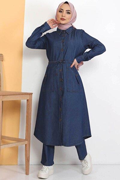 Kadın Koyu Mavi Beli Bağcıklı Düğmeli Kot 2'li Takım