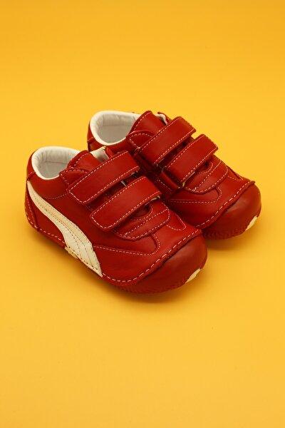 Deri Ortopedik Ilk Adım Bebek Ayakkabısı Kırmızı B108
