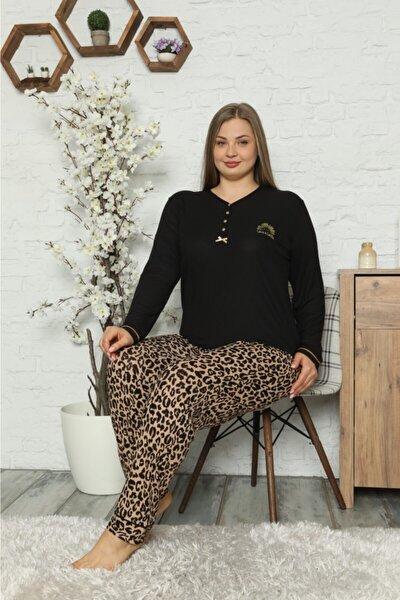 Kadın Siyah Kaşkorse Leopar Desenli Pijama Takımı