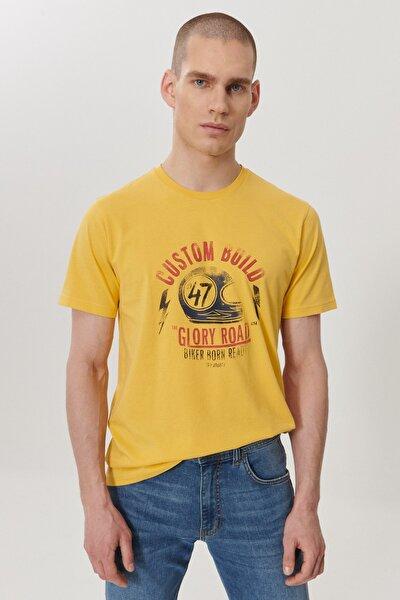 Erkek Sarı Regular Fit Bisiklet Yaka T-Shirt