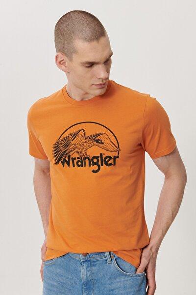Erkek Turuncu Regular Fit Bisiklet Yaka T-Shirt