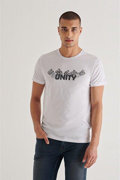 Erkek Beyaz Bisiklet Yaka Baskılı Nakışlı T-shirt A11y1087