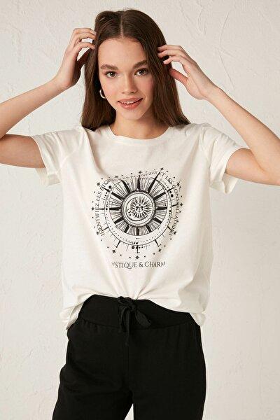 Kadın Ekru LCW Casual Tişört