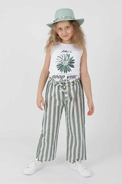 Ak621721492 Kız Çocuk Good Vibe Baskılı Pantolonlu Takım