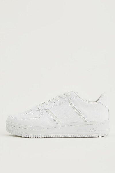 Kadın Beyaz Bağcıklı Sneaker Ayakkabı