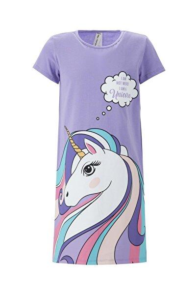 Kız Çocuk Unicorn Baskılı Gecelik