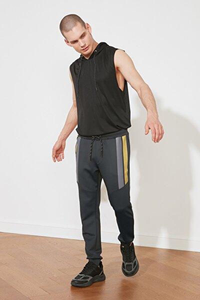 Antrasit Erkek Slim Fit Baskılı Eşofman Altı TMNSS21EA0137