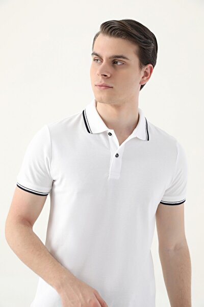Ds Damat Slim Fit Beyaz Pike Dokulu T-shirt