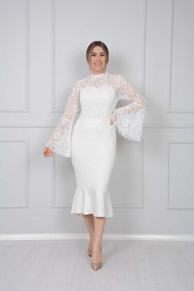 Scuba Ve Güpür Detaylı Elbise - Beyaz