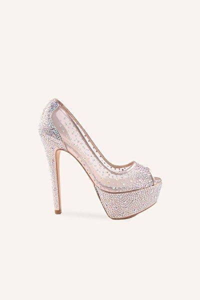 Ekru Cinderella Yüksek Platform Topuklu Ayakkabı